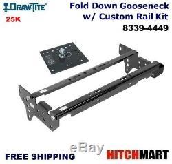 25K FOLD DOWN GOOSENECK HITCH w RAIL KIT FOR 99-16 FORD F250SD, F350SD 8339-4449