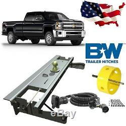 B&W Turnoverball Gooseneck Hitch withHole Saw & 7' Wiring Kit for Chevrolet/GMC