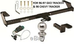 Complete Trailer Hitch Pkg W Wiring Kit For 96-97 Geo Tracker & 98 Chevy Tracker