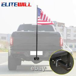 Flag Pole for Trucks Trailer Hitch Holder Mounts to 2 Hitch Receivers Kit