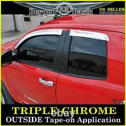 For 2007-2021 Toyota Tundra Extended Cab CHROME Vent Window Visors Rain Guards