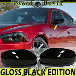 For 2011-2021 Dodge Charger GLOSSY BLACK (FULL) Mirror Covers NO Turn Sig Hole
