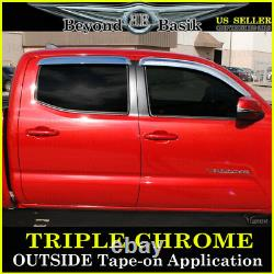 For 2016-2021 Toyota Tacoma CREW DOUBLE Cab CHROME Door Vent Visors Rain Guards