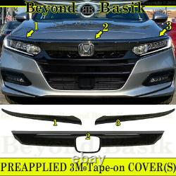 For 2018 2019 2020 Honda Accord GLOSS BLACK JDM Grill Grille COVER Overlay