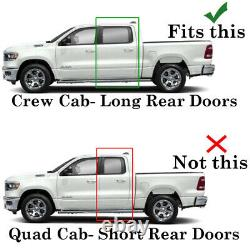 For 2019-2021 Dodge Ram 1500 CREW Cab CHROME Door Vent Visors Window Rain Guard