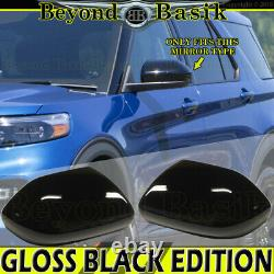 For 2020 2021 Ford Explorer XLT GLOSS BLACK Mirror COVERS NO Turn Signal Hole