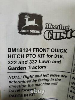 John Deere BM18124 Front Quick Hitch Pto Kit For 318, 322, 332 Lawn Tractor NOS