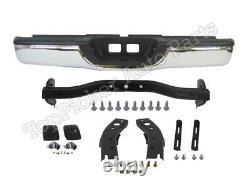 Rear Step Bumper Chrome Face Bar Pad Hitch Bracket Screws Kit For 2000-06 Tundra