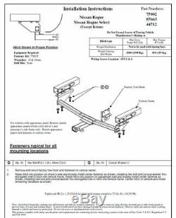 Reese Trailer Tow Hitch For 08-19 Nissan Rogue with Wiring Harness Kit